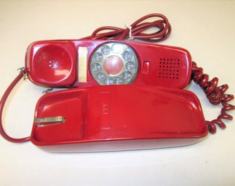 Vintage ITT RED Princess Trimline Rotary Dial Desk Telephone 1969