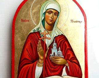 Saint Audrey, handpainted icon original, 8x6 inches, 8x10 inches - MADE TO ORDER