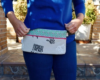 Waist bag,fanny pack,reversible waist bag,stripped fanny pack,music waist bag,reversible purse,reversible handbag,floral waist bag,hips bag