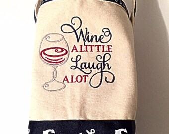 Wine Tote, Canvas Wine Tote, Wine Bag, Canvas Wine Bag, Embroidered Wine Bag, Monogrammed Wine Bag, Wine Carrier