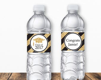 Graduation Water Bottle Labels, Grad Water Bottle Labels, Graduation Labels, Graduation Printables, Open House, Gold Glitter Grad printables