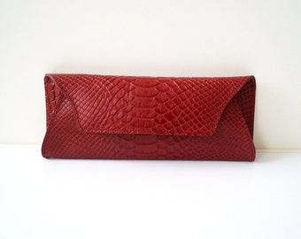 "Womens wallet, Clutch ""Megan"" in dark red, genuine leather, wallet, purse, portmonee, handbag, universally useable, handmade."