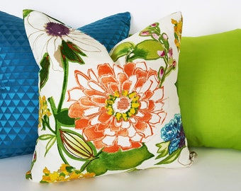 Modern Floral Pillow, Colorful Floral Cushions, Floral Pillow Covers, Spring Throw Pillows, Cream Orange Pillows, Green Blue, 12x18, 18, 20