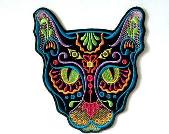 Cat Sugar Skull Patch Embroidery / Day of the Dead/ Calavera