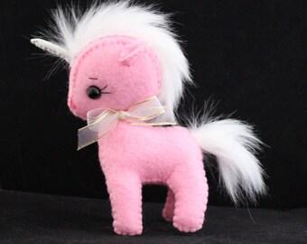 Unicorn felt doll Gingermelon pony