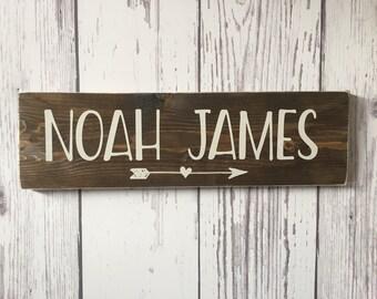 Nursery Name Sign, Rustic Nursery Wall Art, Wood Arrow Decor, Wood Arrow, Nursery Decor, Child Name Sign, Name Sign, Wood Name Sign, Baby