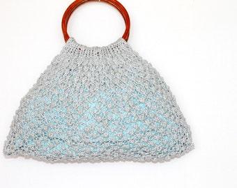 Sale- Gray knitted Purse, Hand Knit Handbag, White Cotton Clutch