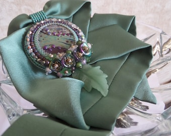 "Purple and Green Author Lampwork Cabochon Bead Embroidered Necklace Pendant on Silk Ribbon ""Secret garden"", Feminine Elegant Beaded Necklace"