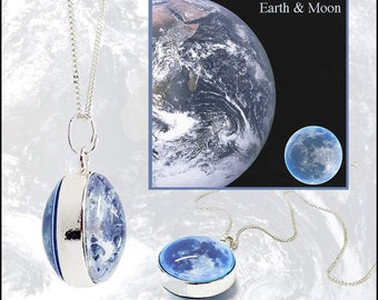 Earth and Moon  Globe Pendant on sterling silver chain