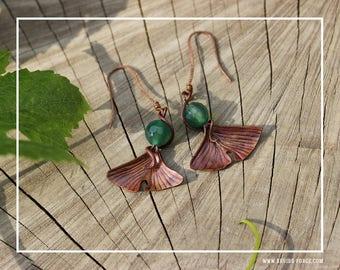 Copper Ginkgo leaf earrings