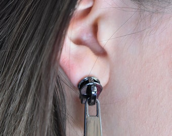 Inox Zipper Earrings - Designer Jewelry - Metal Earrings - Zipper Jewelry