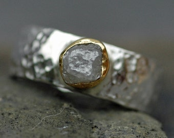 Conflict-free Rough Diamond Ring in 22k Yellow Gold and Hammered Sterling Silver