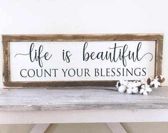life is beautiful Count Your Blessings Framed Wood Sign