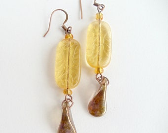 Citrine Glass Earrings Amber Swirl Teardrop Beads Copper Colored Earwires