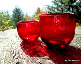 Set of 2 Roly Poly Red Glasses - Large and Small Red Roly Poly Glasses - Red Roly Poly Glasses- Roly Poly