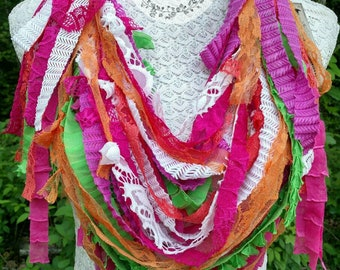 SUMMER BREEZE-Recycled Remnants-Upcycled Scrappy Scarf