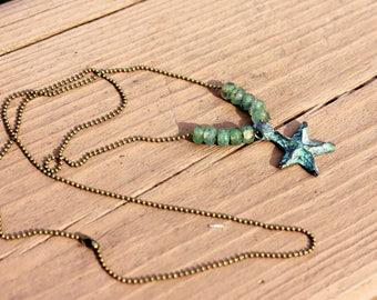 Mykonos Starfish Necklace, Starfish Jewelry, Beach Jewelry, Patina Starfish Necklace, Nautical Jewelry, Beach Boho, Beach Pendant