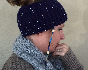Messy Bun Hat, Ponytail Hat, Crochet