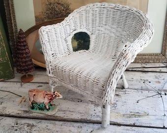 Vintage Wicker / Wicker Chair / Doll Chair / Basket / Vintage Basket /  Vintage Doll