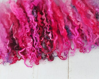 "Hand Dyed Separated Wensleydale Lamb Locks - 5-8"" - Art Fiber - Dragon Fruit - 1.3 ounces"