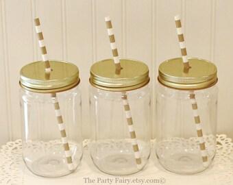 Plastic Mason Jars, 10 Plastic Mason Jars with Gold Lids, Mason Jars with Lids, Wedding Favors, Baby Shower, Mason Jar Cups, Custom Favors