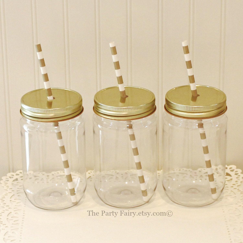 Plastic Mason Jars, 10 Plastic Mason Jars with Gold Lids, Mason Jars ...
