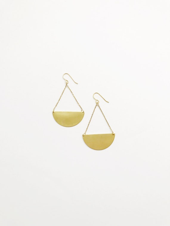 Brass Crescent Drop Earrings