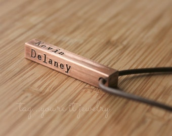 Men's necklace with names, gift for men, copper 7 year anniversary gift, gift for husband or dad, kid name jewelry, tag you're it jewelry,