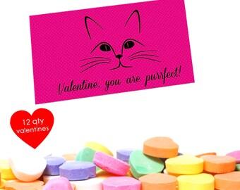 12 Cat Valentine- Cat Valentine Card- Kids- Class Valentines- Kids Valentines Cards- You are Purrfect-  School Valentines Cards School