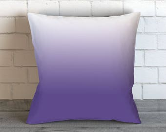 Violet Purple Pillows, Violet and White Pillow, Violet Throw Pillow, Purple White Ombre Pillow, Violet Bedding, Purple Pillow Cover, Violet