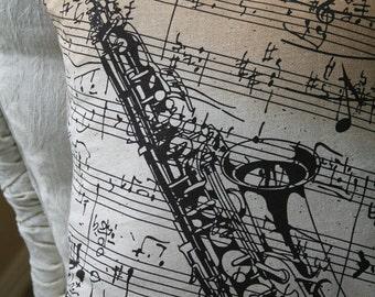 Saxophone, Violin, Music Room Pillow Covers, Music Room, Home Decor, Entertainment, envelope closure