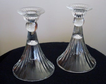 Pair of Unique Glass Candlestick Holders