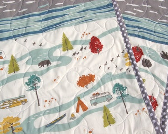 Fishing Baby Quilt, Modern Baby Quilt, Woodland Nursery, Toddler Bedding, Fishing Baby Nursery, Fish, Gray, Crib Cot Quilt, Handmade Quilt