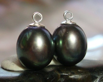 2 pcs, 11-12x7-7.5mm, Freshwater Pearl Dangle, Fresh Water Pearl, Peacock Green Purple Teardrop Pearl Pendant, Sterling Silver cup and peg