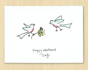Mothers day card, Happy Mothers day card, Bird mothers day card, Blue bird card, eco friendly greeting card, hand drawn mothers day card
