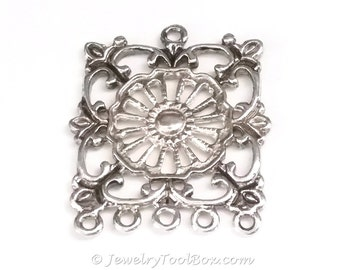 Filigree Chandelier Earring Finding, Antique Silver, 32x36mm, 2.5mm Loops, Lot Size 2 to 10, #2141