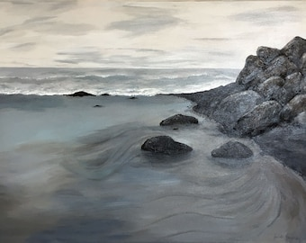 Half Moon Bay grey beach day with rocks large acrylic painting