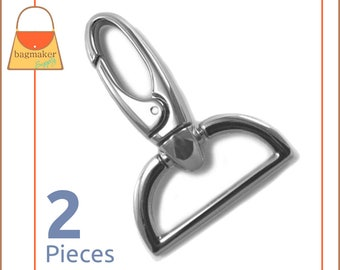 "1.5 Inch Swivel Snap Hook, Nickel Finish, Spring Gate Pivoting, 2 Pieces, 1-1/2"", 1.5""  Purse Supplies Handbag Hardware Supplies SNP-AA090"
