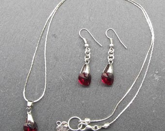 silver plated swarovski crystal necklace and earring set