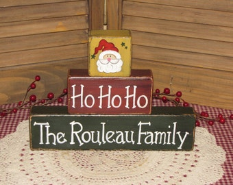 Primitive personalized Christmas wood stacking blocks shelf sitter family name farmhouse country decor