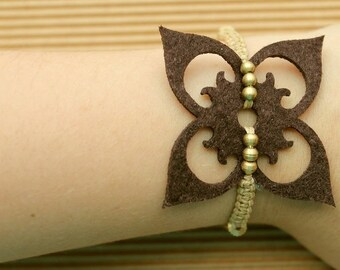 """Macrame flower FILIGREE Brown """"BOHO"""" bracelet"""