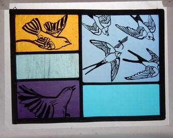 Large Stained Glass Bird Panel. Blue, Purple and Orange Glass. Iridescent Blue Glass. Birds in Flight. Summer Swallows. Hand Painted and Lea