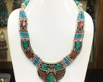 NOVN13-Modern Coral & Blue Turquoise Tribal Necklace