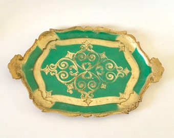 Vintage Florentine Green and Gilt Tray, Italy
