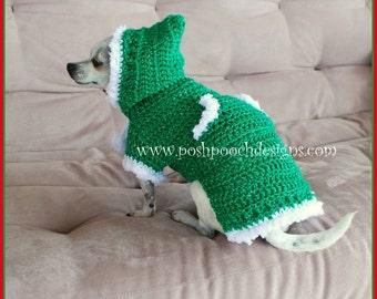 Winter Elf Dog Sweater Hoody - Instant Download Crochet Pattern