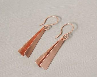 Rose gold geometric earrings / 9ct rose gold earrings / Geometric jewellery
