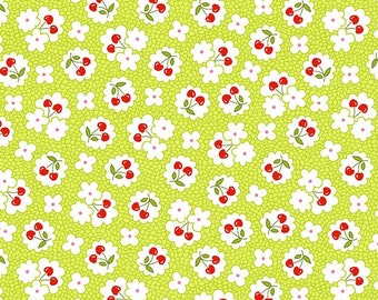 By The HALF YARD - The Little Red Hen by Dana Brooks for Henry Glass #9862-66, Red Cherries and white flowers on a tonal lime green