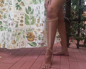 Warrior Woman Calf Jewelry - Thick Lace Chain - Body Leg Jewelry - Gold - Body Decor - Standard, Skinny, Bigger is Better or Custom Sizes