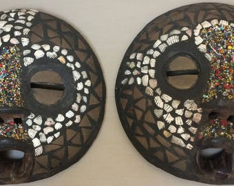 Pair of masks African LUBA (Congo)