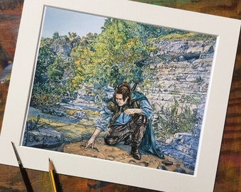 Tolkien fine art print - Aragorn and Gollum  -  8 x 10 inches - gift for Tolkien fan